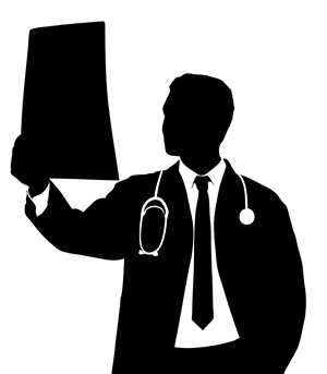 doctor reading xray Silhouette